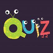 quiz text fun kids character fun alphabet with eye vector poster