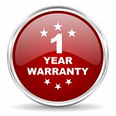 warranty guarantee 1 year red glossy circle web icon poster