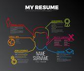 Vector original minimalist cv / resume template - creative version with big avatar - dark version poster