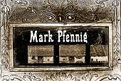 Old German cash register with Mark and Pfennig poster