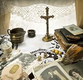 Nostalgic Reminiscence -  Still Life with Antique Crucifix And Other Ladies Accessories One Hundred Years Ago poster
