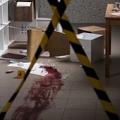 Murder in the house - barricaded crime scene poster