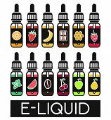 Icons of E-Liquid. Vector E-Liquid illustration of different flavor.Liquid to vape. The taste of the electronic cigarette poster