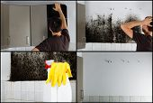 Collage of photos showing a man removing mold from behind the kitchen cabinets. poster