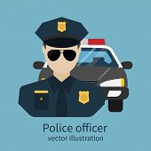Police officer avatar. Vector illustration flat design. Police officer with car on background. Cop policeman sheriff enforcement. Symbol of security law and order. poster
