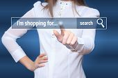 Woman click on virtual e-shop button with shopping cart. E-commerce and B2C concept. poster