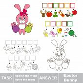 Vector rebus game. Find solution and write the hidden word Easter Bunny poster