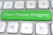 Render illustration of computer keyboard with the print Make Money Blogging on a green button poster