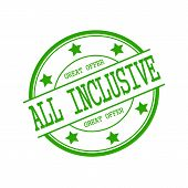 All inclusive green stamp text on green circle on a white background and star poster