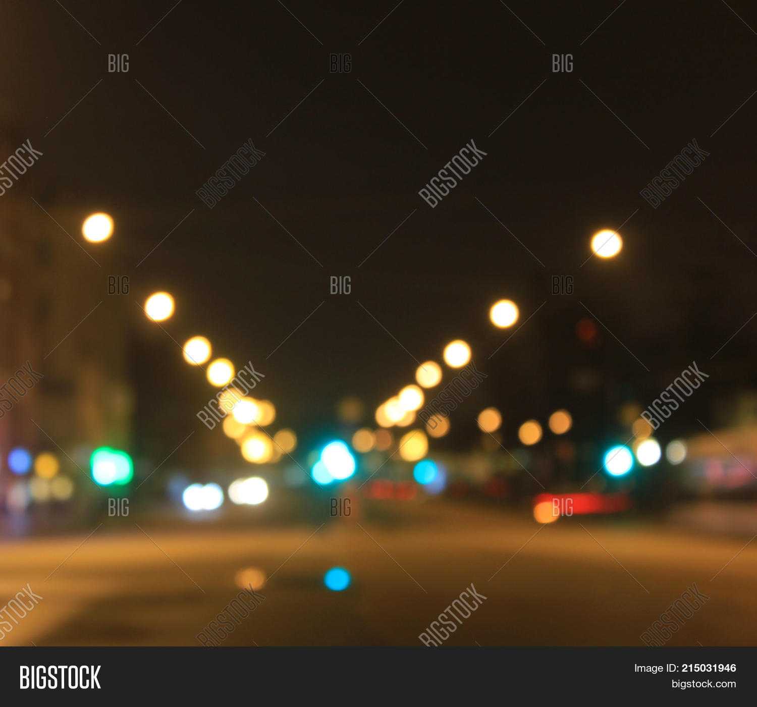 Night City Street Abstract Lights Background Bokeh Traffic And Lanterns Bulb Blurred Evening Dusk