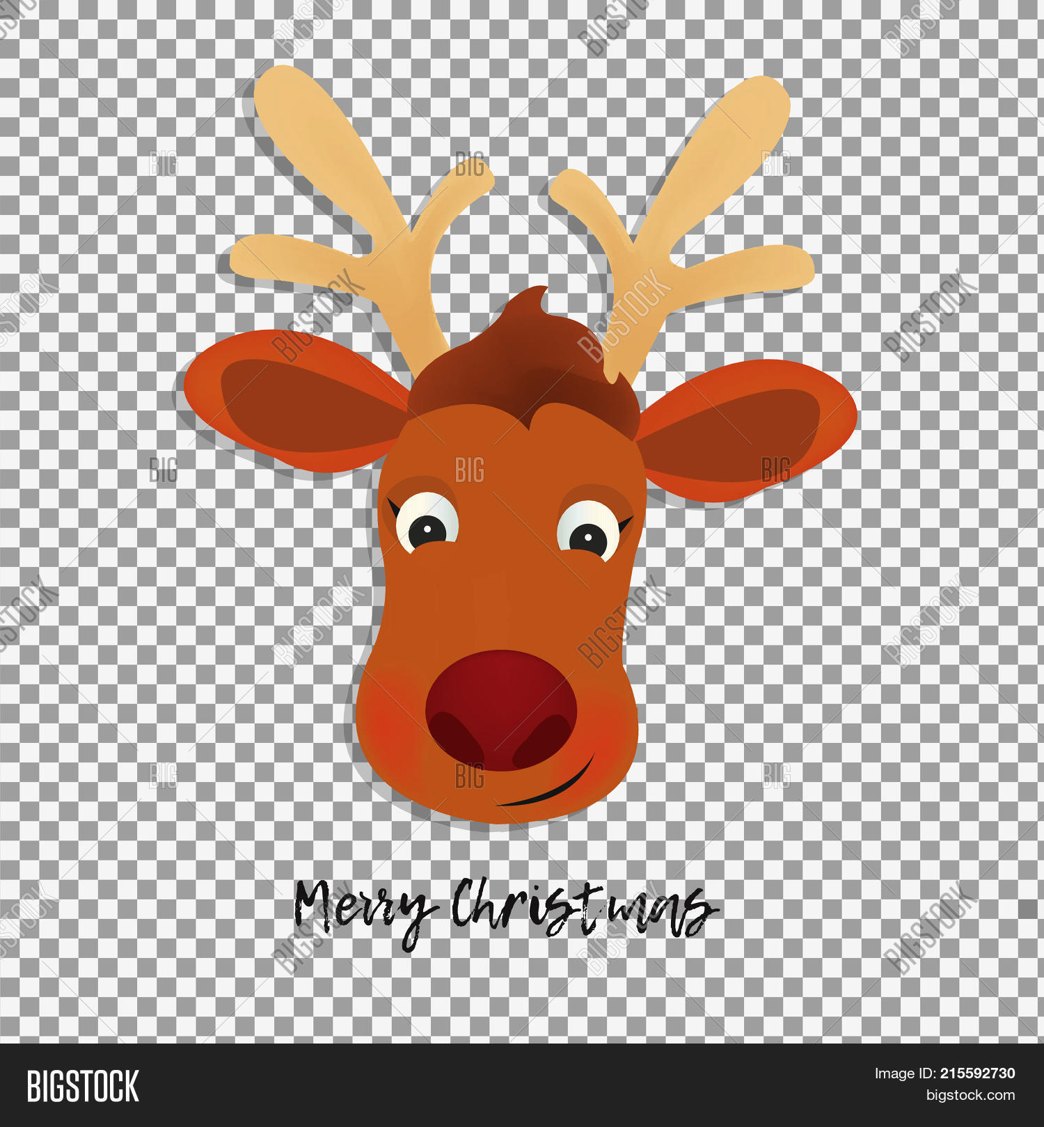Christmas Deer Cartoon Head On Transparent Background Cute Santa Helper Character