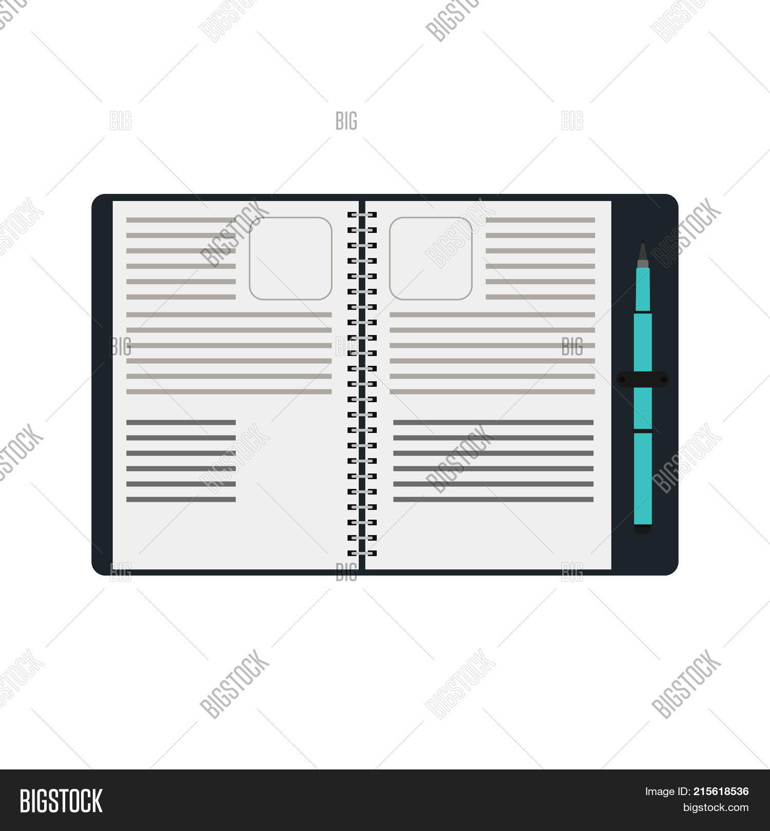 Notebook Spiral Pen Vector Photo Free Trial Bigstock