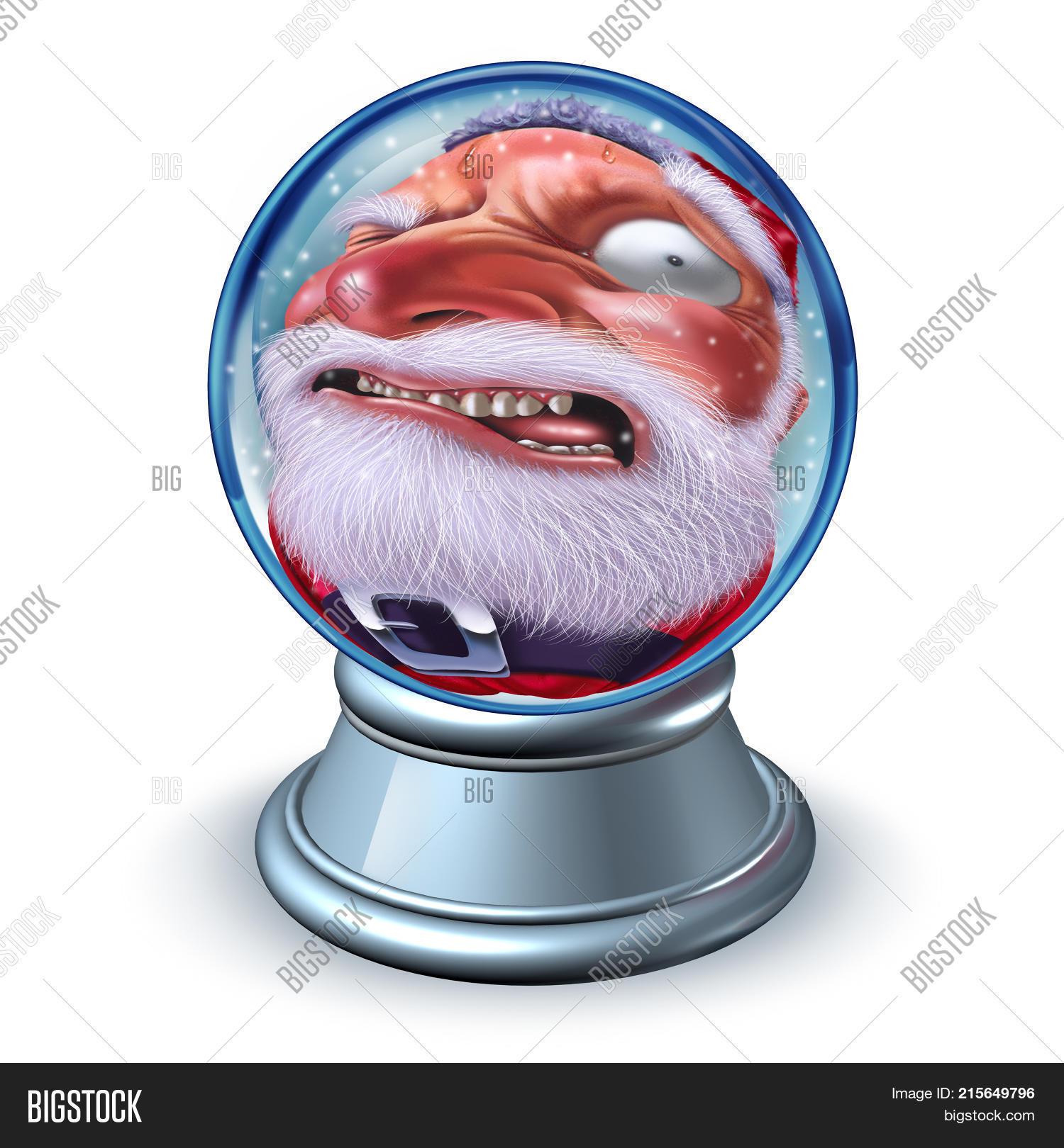 funny santa santaclaus snow globe image & photo | bigstock