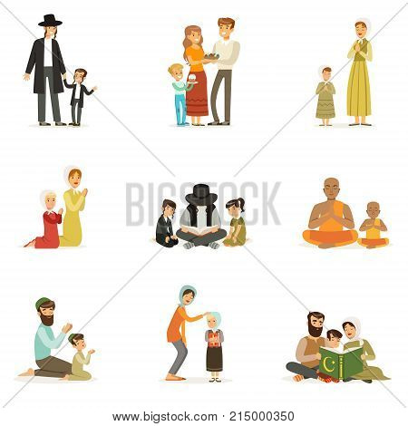 People characters of different religions set. Religious activities. Families in national costumes that pray, read holy books, celebrate holidays. Jews, Catholics, Muslims, Buddhists. Flat vector.
