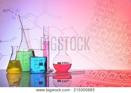Glass Chemical Containers Colorfull With Representation Background