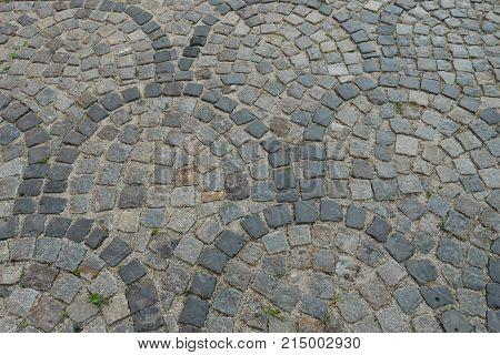 worn cobblestone pavement walkway pattern background - semicircle
