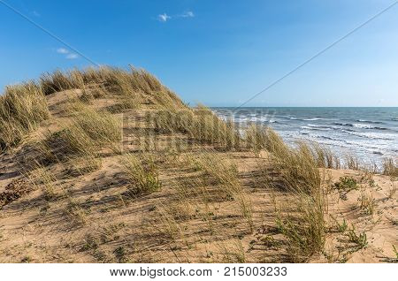 Sand dune under the wind on the west coast of France (Olonne sur Mer, Vendee)