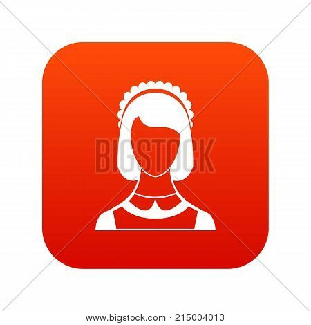 Maid icon digital red for any design isolated on white vector illustration
