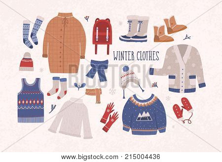 Collection of winter clothes and outerwear isolated on light background - woolen jumper, cardigan, coat, snow boots, scarf, hat, mittens. Bundle of seasonal clothing. Colorful vector illustration