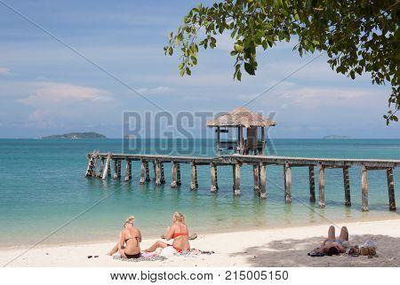Bridge in sea at Sames Island Thailand