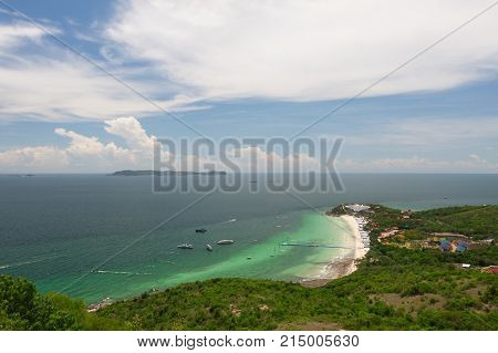Beach and emerald sea top view, Thailand