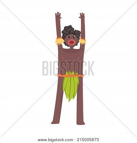 Scared black skinned man aborigine stands with hands up. Indigenous peoples of African or Australian tribe. Dressed in traditional green hula skirt. artoon flat vector character isolated on white.