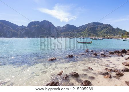 Backlit sea and beutiful rock at Krabi Thailand