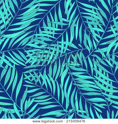 Natural seamless pattern with green tropical palm leaves on blue background. Backdrop with foliage of exotic trees growing in jungle. Vector illustration for textile print, wallpaper, wrapping paper