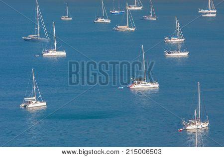 Group yacht sailing in the sea at Phuket , Thailand