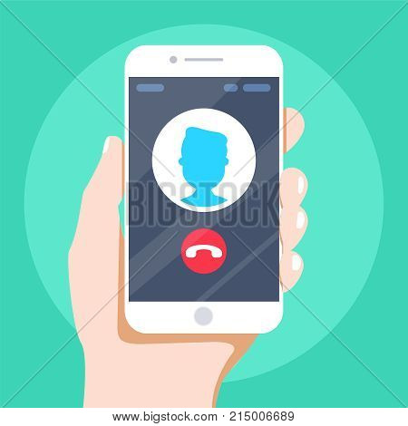 Outgoing call. White smartphone with call screen. Waiting for answer concept. Human hand holding cellphone. Modern flat design graphic elements and objects. Vector illustration