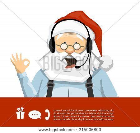 Santa Claus customer service representative with headset. Vector image of a Santa Claus character.