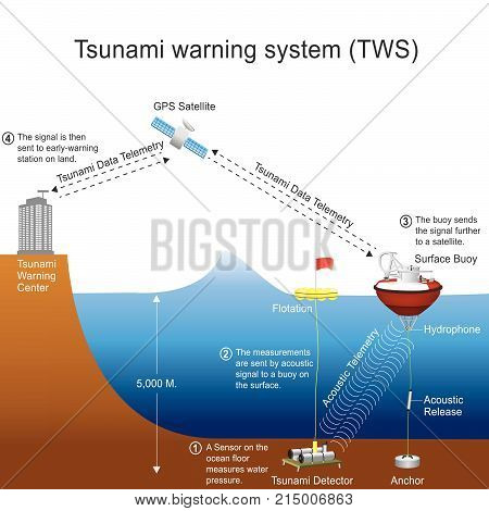 A tsunami warning system (TWS) is used to detect tsunamis in advance and issue warnings to prevent loss of life and damage. It is made up of two equally important components: a network of sensors to detect tsunamis and a communications infrastructure to i