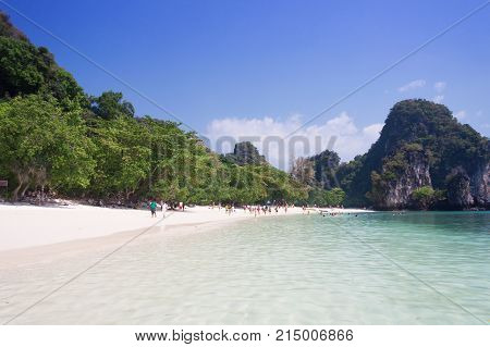 Tropical sea and white sand at Krabi Thailand