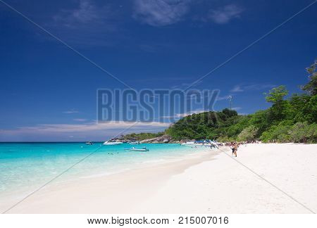 Turquoise sea and blue sky in tropical sea at Thailand.