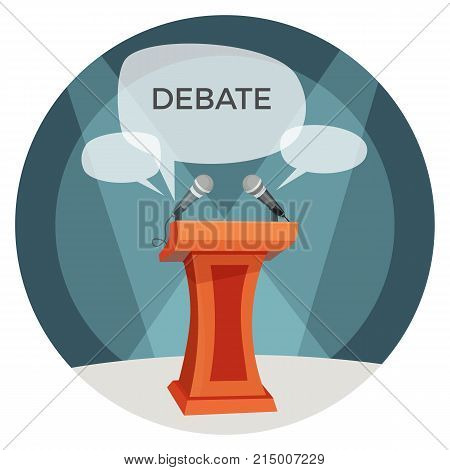 Debate poster with microphones, tribune important place for orator, icons of opinions forms, headline placed in speech bubbles on vector illustration