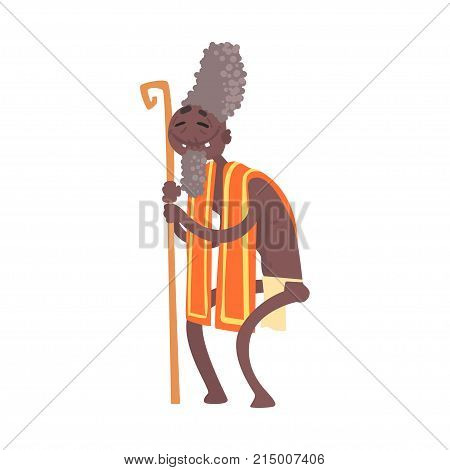 Cheerful black skinned toothless elder man aborigine with stick. Greybeard in traditional clothes. Indigenous peoples of African or Australian tribe. artoon flat vector character isolated on white.