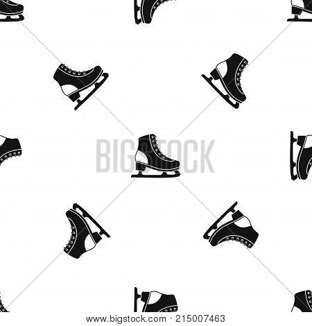 Ice skate pattern repeat seamless in black color for any design. Vector geometric illustration
