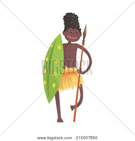 Black skinned man aborigine warrior stands with spear and shield. Indigenous peoples of African or Australian tribe. Dressed in traditional hula skirt. artoon flat vector character isolated on white.