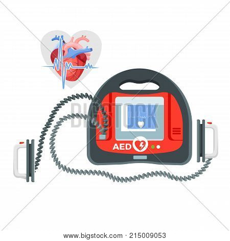 Modern portable defibrillator with small screen, human heart and piece of cardiogram isolated cartoon flat vector illustration on white background.