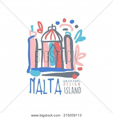 Exotic summer vacation colorful design. Hand drawn template label. Travel to Malta, view on Valletta city. Tourism logo concept for agency or tour operator. Vector illustration isolated on white.