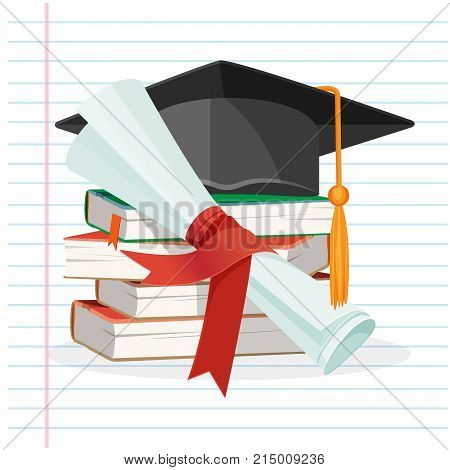 Degree scroll on background of linear piece of paper, pile of books and black graduation cap with tassel vector illustration with textbooks, diploma and hat