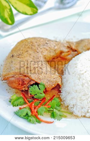 close up of Roasted chicken with rice