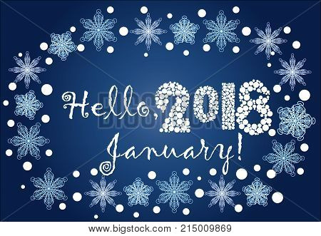 Inscription Hello, January 2018 in a frame of snowflakes on a blue background, blizzard