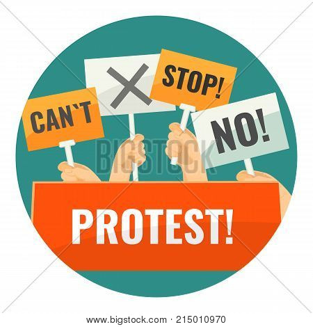 Mass protest with negative cardboard signs on sticks in human hands inside circle vector illustration on white background. Strike against cruel injustice.