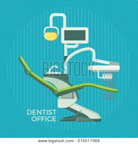 Dentist office services promotional poster with special modern equipment for proper health care isolated cartoon flat vector illustration on blue background.