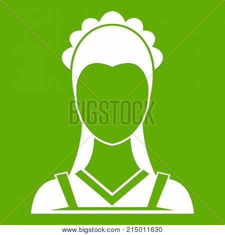 Maid icon white isolated on green background. Vector illustration