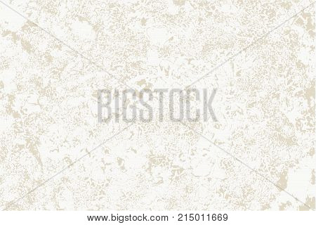 Worn plaster on beige surface. Old concrete wall. White plaster on yellowish-brown  background perfect as backdrop for your text and other design elements. Rustic, vintage style. Horizontal location.