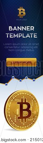 Cryptocurrency editable banner template. Bitcoin. 3D isometric Physical bit coin. Golden and silver bitcoin coins. Stock vector illustration
