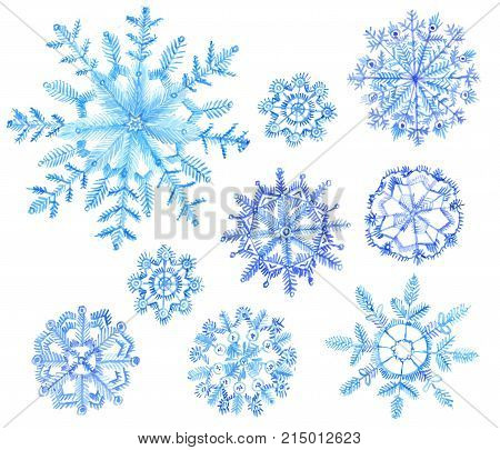 Set of watercolor snowflakes. Cristmas illustration isolated on white background