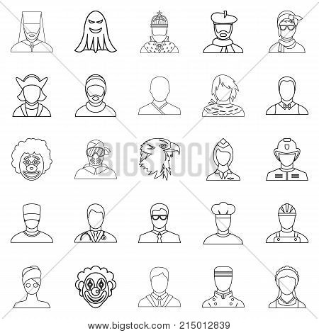 Personification icons set. Outline set of 25 personification vector icons for web isolated on white background poster